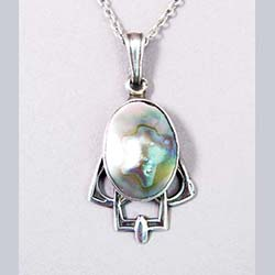Arts and Crafts Sterling Abalone Pendant