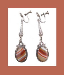 Sterling Agate Earrings Front