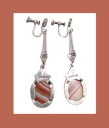 Sterling Agate Earrings Back