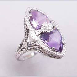 14k Filigree Amethyst Ring Front