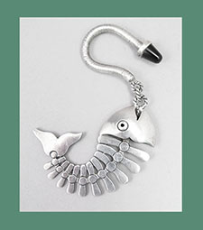 Antonio Pineda Sterling Silver Fish Bone Key Chain