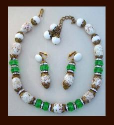 Art Glass & Crystal Beading Necklace & Earrings