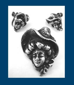 Art Nouveau Woman in Hat Sterling Pin & Earrings Set