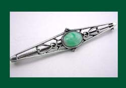 Sterling Green Pearlessence Glass Cabochon Brooch