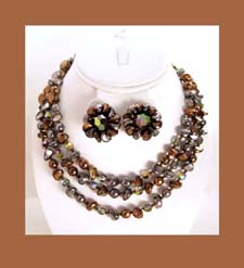 Austria Colorful Copper Colored Beaded Necklace and Earrings