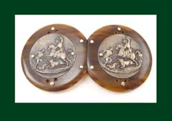 Tortoise and Repousse Belt Buckle