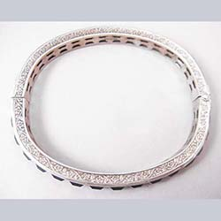 Art Deco Blue Rhinestone Sterling Bracelet Side