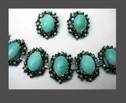Aqua Cabochons & Imitation Pearl Bracelet & Earrings
