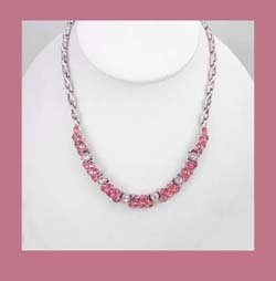 Bogoff Pretty in Pink Rhinestone Necklace