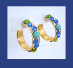 Colorful Glass Cabochon Gold Tone Earrings