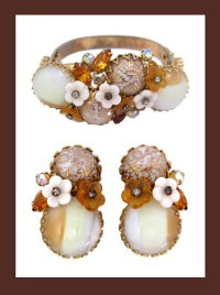 Alice Caviness (unsigned) Rhinestone and Glass Cabochon Bracelet and Earrings