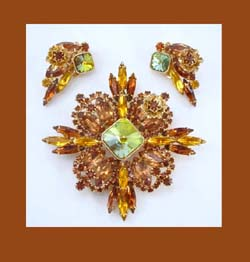 Alice Caviness Shades of Topaz Rhinestone Pin and Earrings