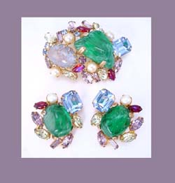 Alice Caviness Art Glass and Rhinestone Brooch and Earrings