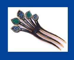 Colorful Rhinestone Celluloid Hair Comb