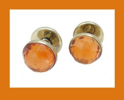 14k Gold Faceted Citrine Cufflinks Front