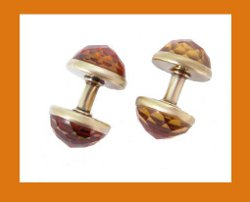 14k Gold Faceted Citrine Cufflinks Side