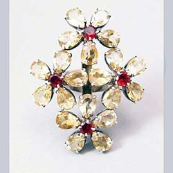 Citrine and Garnet Sterling Large Flower Ring Front