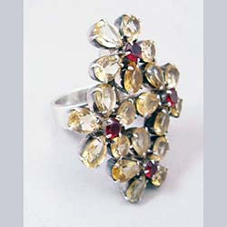 Citrine and Garnet Sterling Large Flower Ring Side
