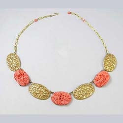 Coral Glass Floral Necklace