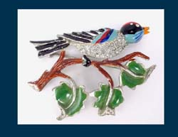 Enamel & Rhinestone Bird on a Branch Coro Pin