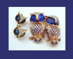 Coro Sterling and Enamel Rhinestone Owl Duette with Earrings