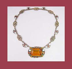 Filigree and Enamel Topaz Glass Necklace
