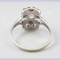 Art Deco 14k Gold .35 ct Diamond and Lab Ruby Ring Back