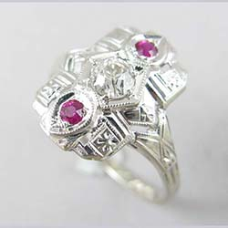 Art Deco 14k Gold .35 ct Diamond and Lab Ruby Ring Side