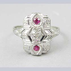 Art Deco 14k Gold .35 ct Diamond and Lab Ruby Ring Front