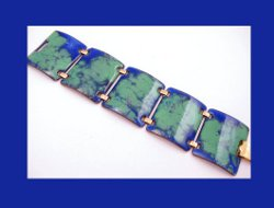 Kaye Denning Wide Blue and Green Enamel Bracelet Front