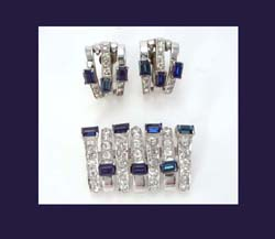 DeRosa Sterling and Sapphire Blue Rhinestone Brooch and Earrings