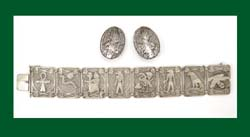 Silver Egyptian Motif Bracelet and Earrings