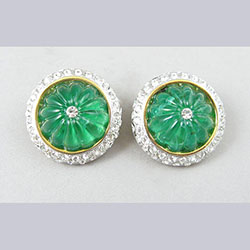 Emerald Green Rhinestone Button Earrings