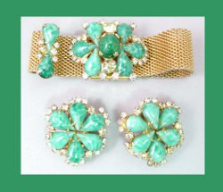 Hobe Green Cabochon and Rhinestone Mesh Bracelet with Earrings Back