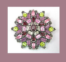 Hollycraft Amethyst and Olivine Rhinestone Pin Front