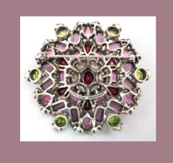 Hollycraft Amethyst and Olivine Rhinestone Pin Back
