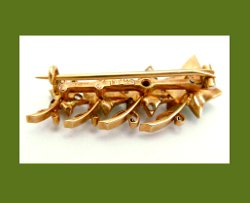 Victorian 14k Gold and Diamond Enamel Ivy Brooch Back