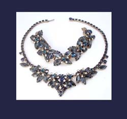 Dark Sapphire Blue Rhinestone Necklace and Bracelet