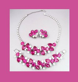 Juliana Fuchsia Rhinestone Necklace, Bracelet, and Earrings