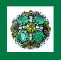 Juliana Emerald Green Rhinestone Brooch