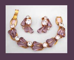Lavender & Clear Rhinestone Juliana Bracelet & Earrings