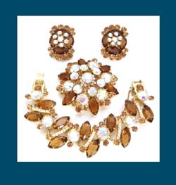 Juliana Topaz Rhinestone Bracelet, Earrings and Pin