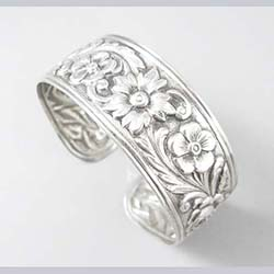 S. Kirk and Sons Sterling Floral Cuff Bracelet Front