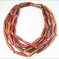 Gerda Lynggarrd Unsigned Red Dyed Horn Bead Necklace