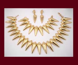 Monet Gold Tone Necklace, Bracelet, & Earrings