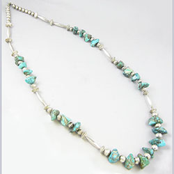 Navajo Sterling Bench Bead and Turquoise Nugget Necklace Full