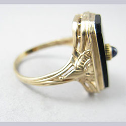Onyx and Natural Sapphire 10k Gold Filigree Ring Side