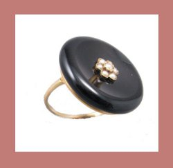 Victorian 14k Gold, Onyx and Seed Pearl Ring