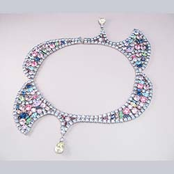 Incredible Asymetrical Pastel Rhinestone Necklace
