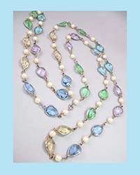 Beauty in Pastel and Glass Pearls Sautoir Necklace